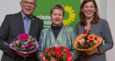 Direktkandidaten für den Kreis Mettmann mit Ministerin Sylvia Löhrmann: Jörn Leunert (links) und Ophelia Nick (rechts)